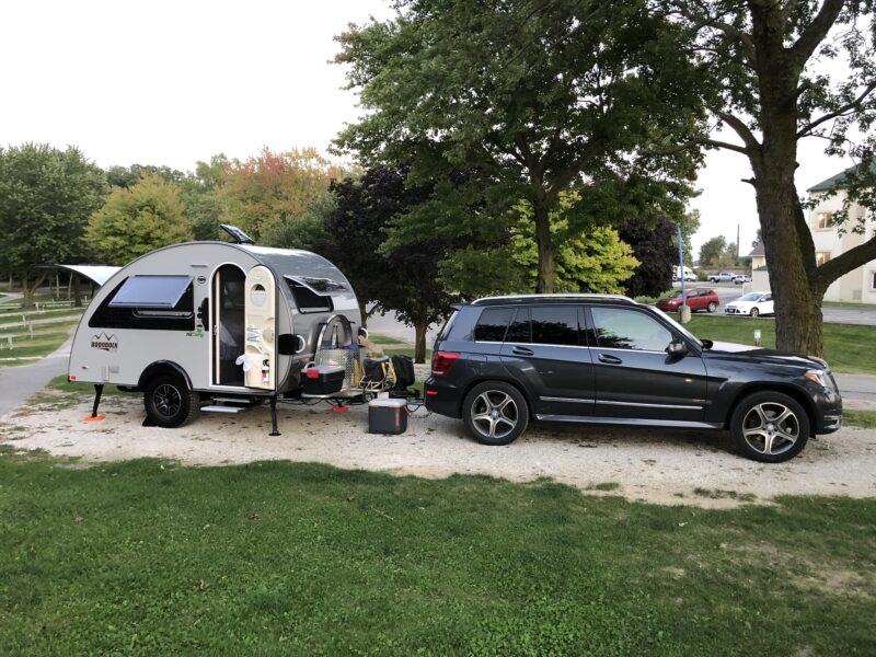 Keithmobile-E and our camper at our first campsite in Ohio