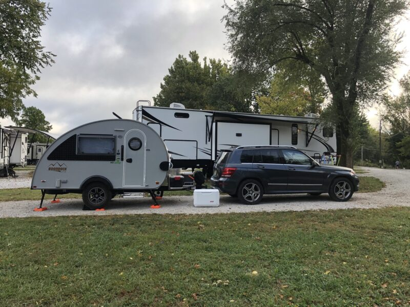 Keithmobile-E and our camper in Missouri