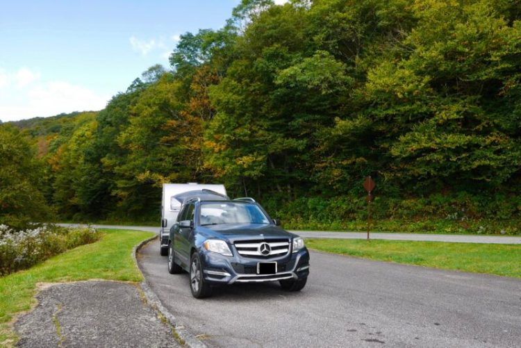 Keithmobile-E (and camper) on a pullout on the Blue Ridge Parkway