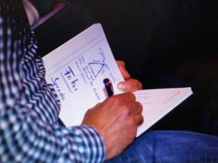 Teilnehmer schreibt Fokus