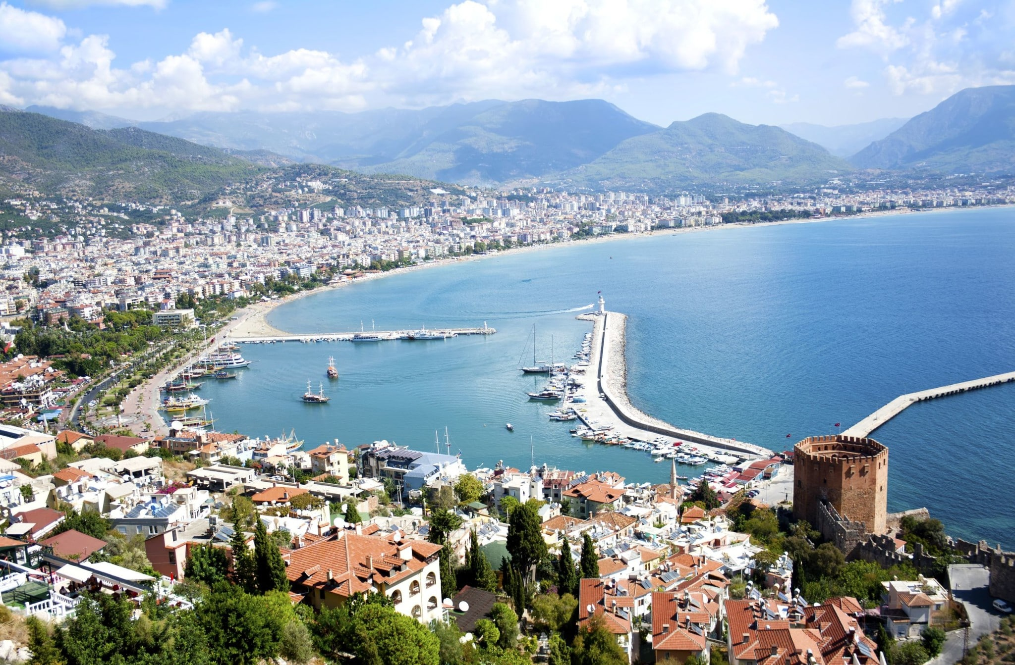 Aerial view of a coastal town in Turkey