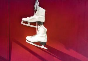 Ice skating shoes hanging