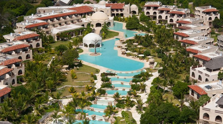 Aerial view of the 7-layer 200-meter cascading swimming pool at Swahili Beach Resort.