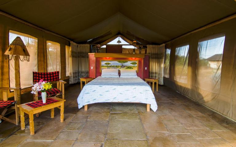 The interior of a tent at Sentrim Amboseli