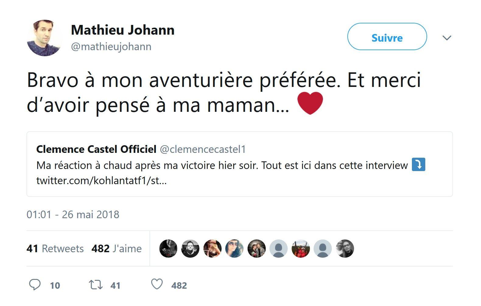Koh-Lanta remporté par Clémence : Le message de Mathieu Johann, son compagnon !