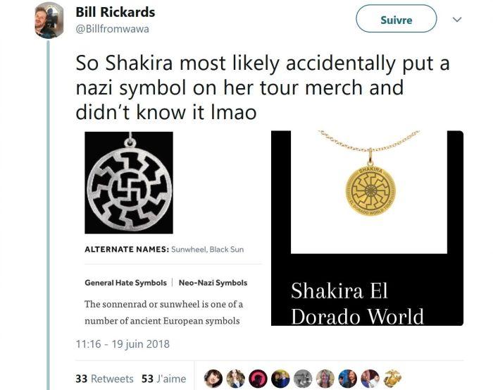 Shakira : Un collier comportant un symbole nazi en vente lors de sa tournée !