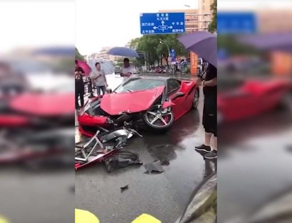 Une femme loue une Ferrari et se crashe immédiatement