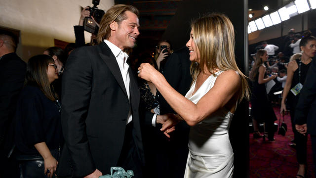 Brad Pitt et son ex Jennifer Aniston @ McIntyre/Getty Images for Turner/AFP