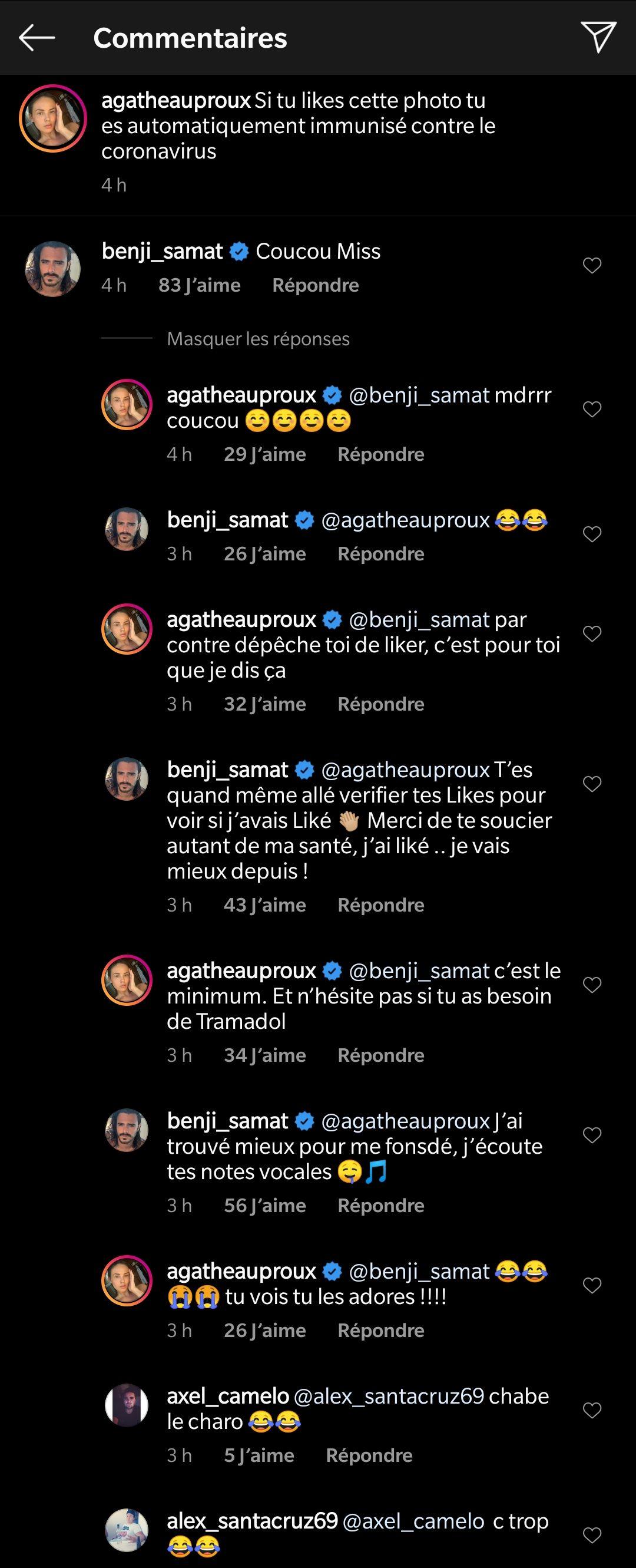 Agathe Auproux et Benjamin Samat se taquinent sur Instagram