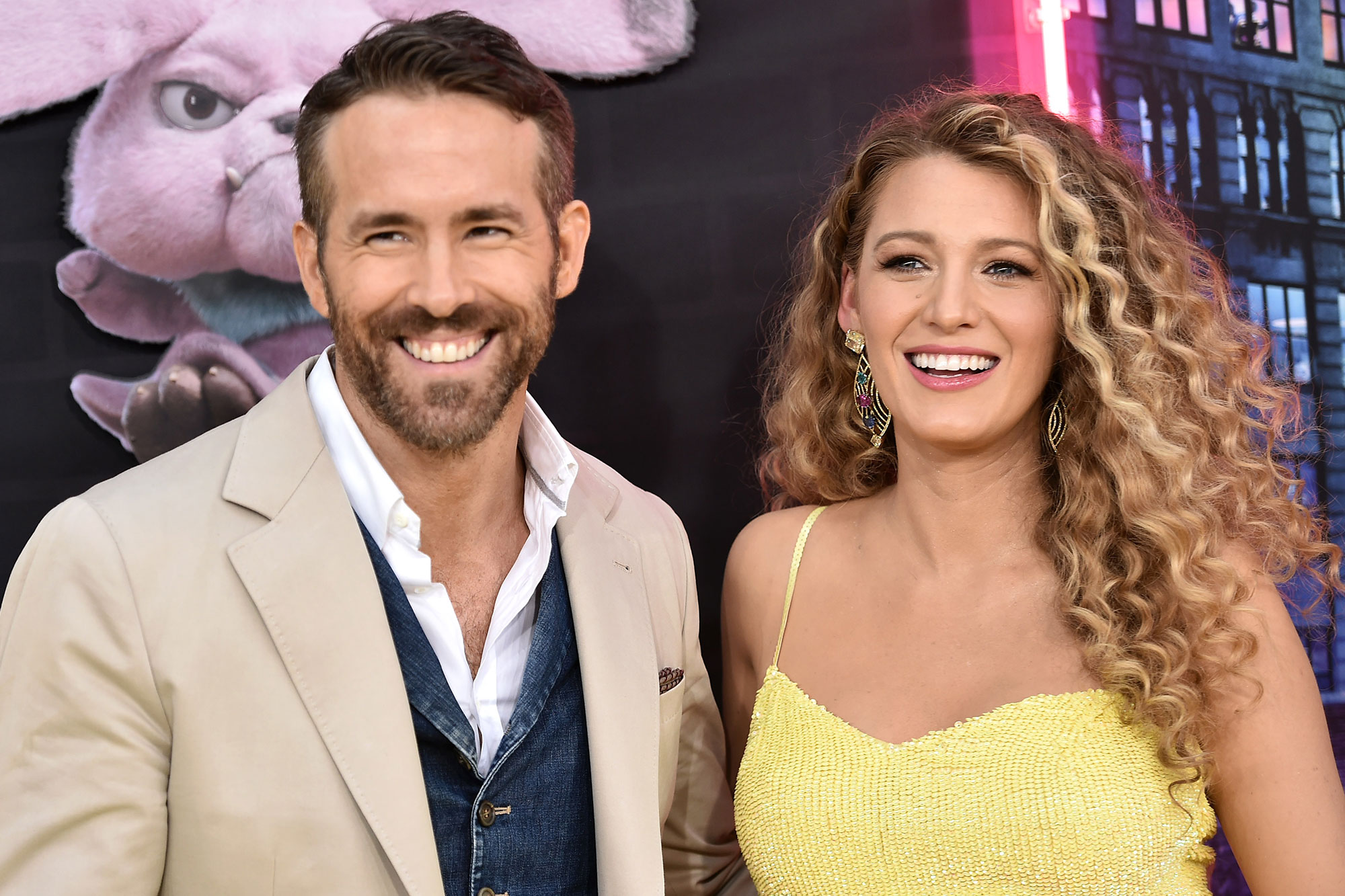 """Ryan Reynolds and Blake Lively attend the premiere of """"Pokemon Detective Pikachu"""" at Military Island in Times Square on May 2, 2019 in New York"""