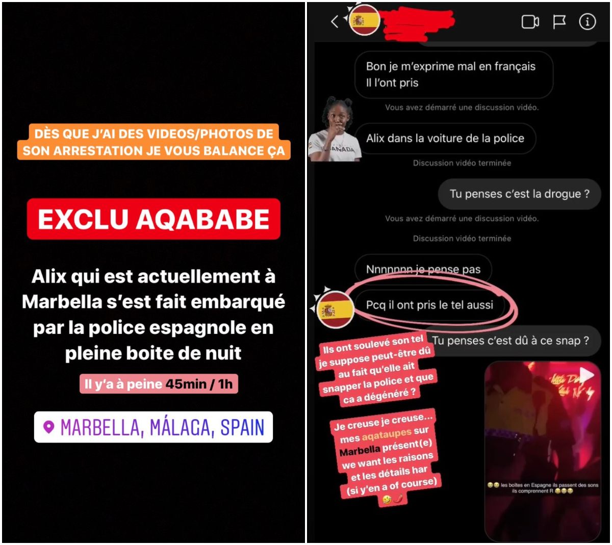 Alix en Espagne pour renouer avec son ex ? Elle se fait arrêter par la police !