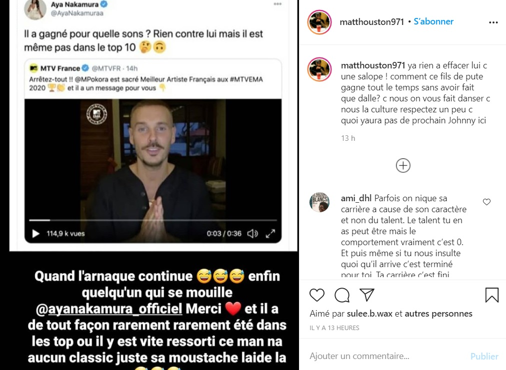 MTV EMA 2020 : Matt Pokora sacré meilleur artiste français, Aya Nakamura le tacle !