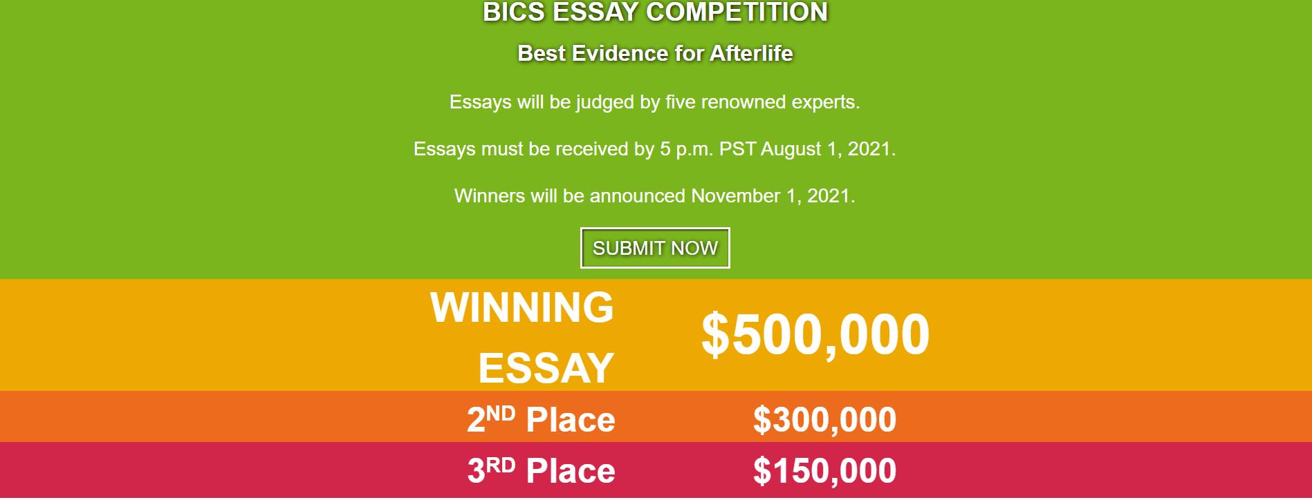 La publication du concours sur le site du Bigelow Institute @Bigelow Institute
