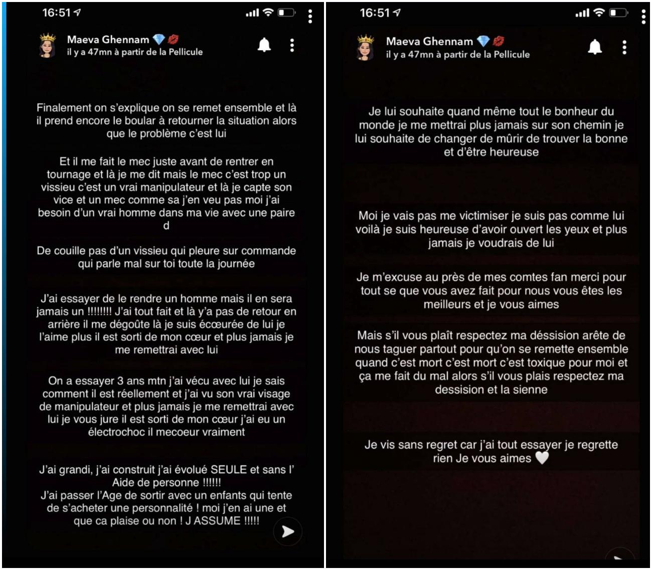 """Maeva Ghennam dézingue Greg Yega qu'elle qualifie de manipulateur : """"Il pleure sur commande"""""""