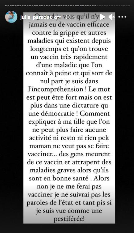 "Covid-19 : Julia Paredes tacle la vidéo des Marseillais : ""C'est de la propagande"""