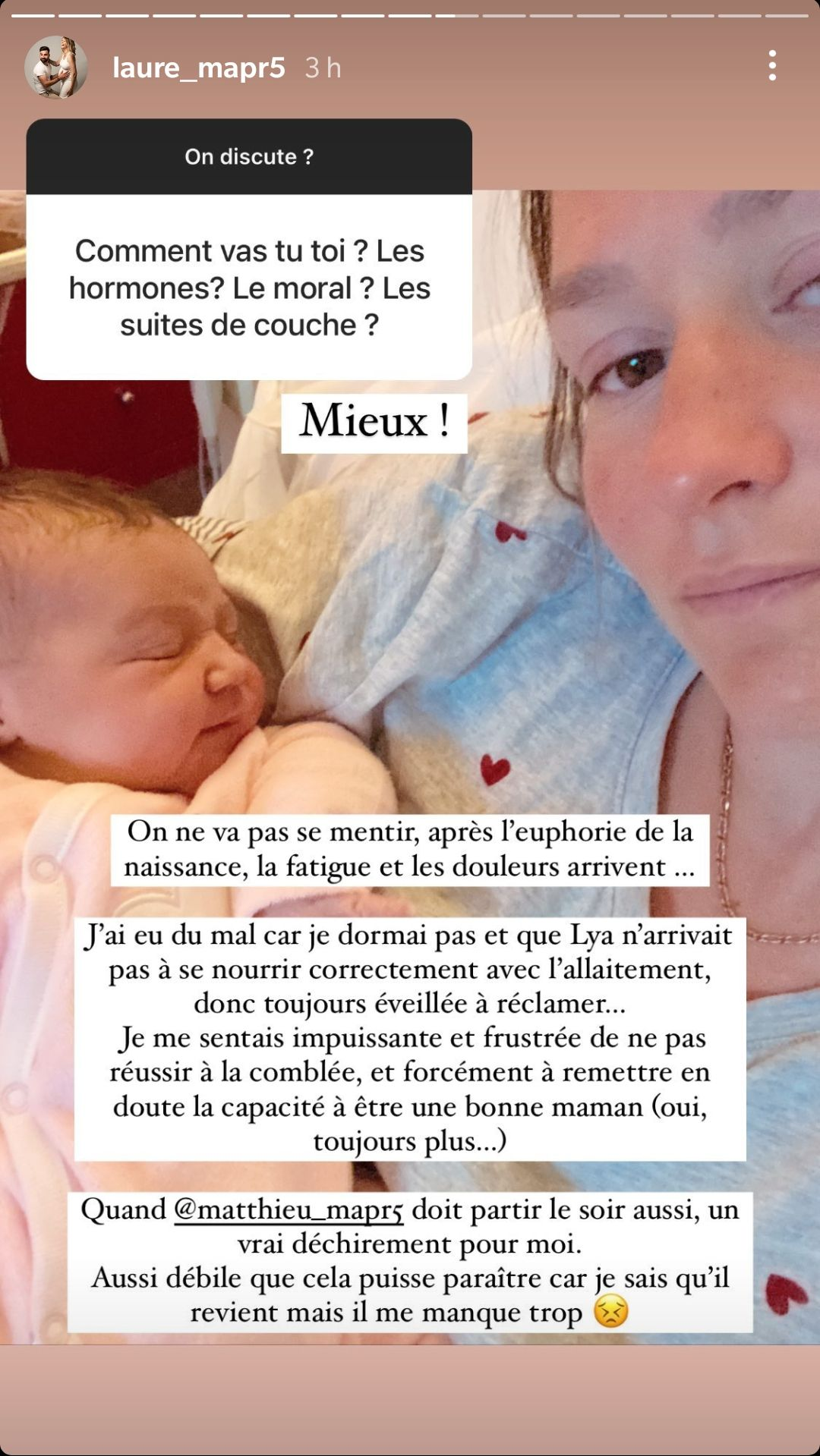 """Laure (MAPR5) : Épouse et maman en un an, elle évoque ses """" montées de stress """""""