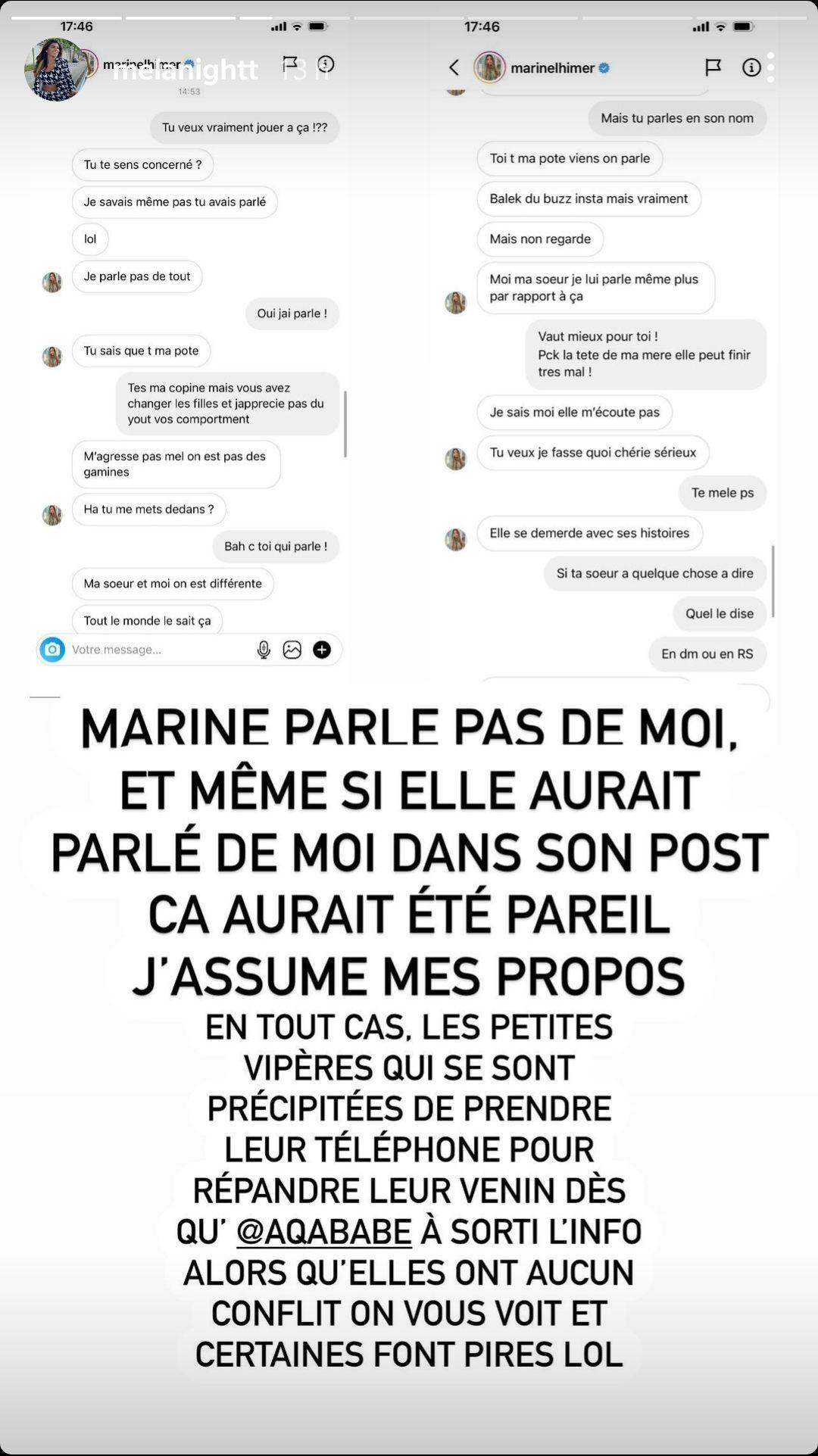 Océane El Himer s'attire les foudres de Mélanight ! Marine s'en mêle !