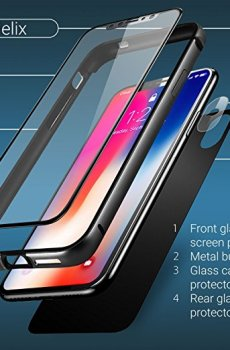 iPhone X Front Back Glass Screen defender Case Tempered Glass Rear Camera Glass defender  Full Body Coverage Olixar Helix