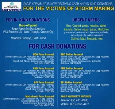 Sagip Kapamilya is now accepting cash and in-kind donations for the victims of storm Maring