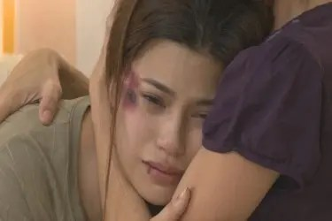 Denise Laurel plays battered wife Blythe