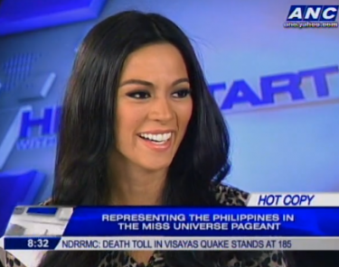 """Miss Universe- Philippines Ariella Arida made a quick stopover to Karen Davila's ANC show Headstart on her way to the airport for Moscow, Russia. The 24 year-old Pangasinan beauty said that """"Miss Universe is about who you are as a person"""" and excellent communication skills is not necessarily a deciding factor.  Photo grabbed from the live stream of www.anc.yahoo.com"""