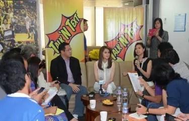 Marian Rivera addresses entertainment press at the Talk 'N Text presscon