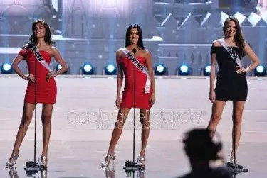 Miss Philippines Ariella 'Ara' Arida gave a strong introduction during the Miss Universe preliminary competition. Also in photo are Miss Peru and Miss Poland. Credit: OPMB Worldwide