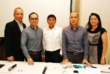 ABS-CBN executives Raymund Miranda, Aldrin Cerrado, Ron Valdueza, Rick Tan, and Paz Balayan.
