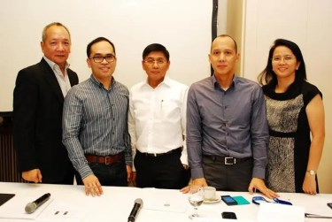 ABS-CBN executives Raymund Miranda, Aldrin Cerrado, Ron Valdueza, Rick Tan, and Paz Balayan.