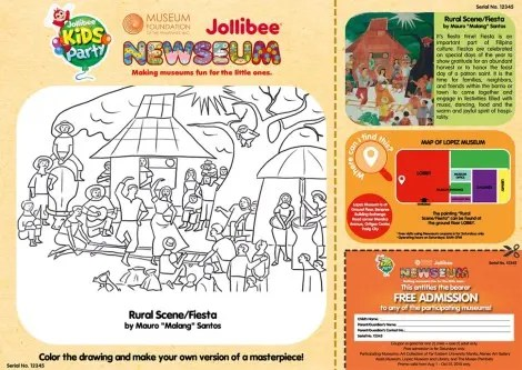 """Jollibee activity sheet for the Newseum project, with featured artwork by Mauro """"Malang"""" Santos. Image credit: http://lopez-museum.com/"""