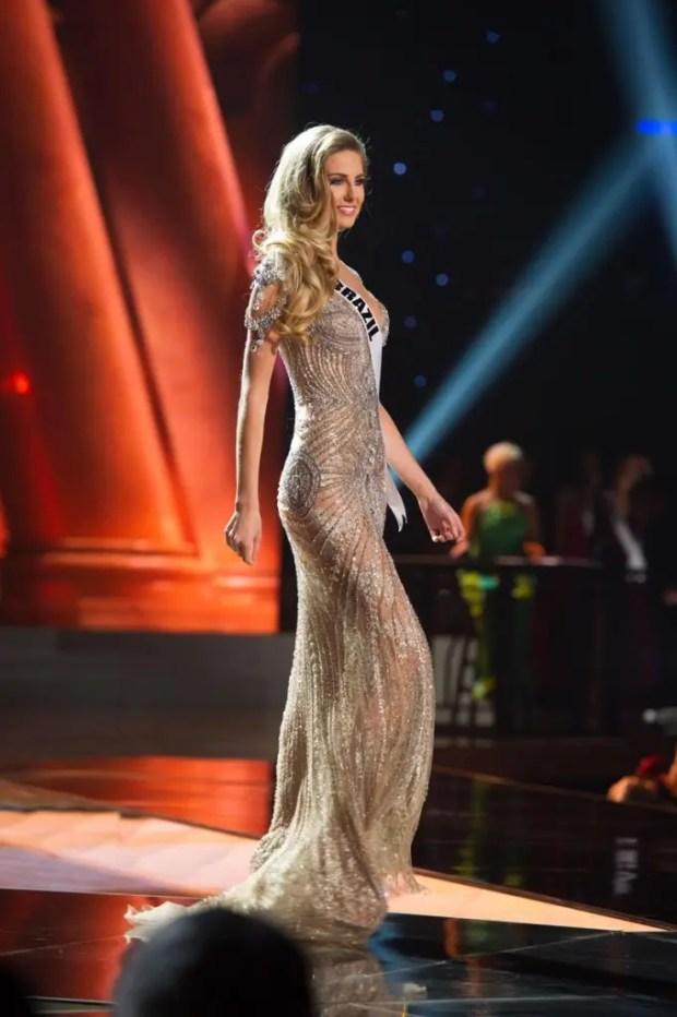 Marthina Brandt, Miss Brazil 2015, competes on stage in her evening gown during The 2015 MISS UNIVERSE® Preliminary Show at Planet Hollywood Resort & Casino Wednesday, December 16, 2015. The 2015 Miss Universe contestants are touring, filming, rehearsing and preparing to compete for the DIC Crown in Las Vegas. Tune in to the FOX telecast at 7:00 PM ET live/PT tape-delayed on Sunday, Dec. 20, from Planet Hollywood Resort & Casino in Las Vegas to see who will become Miss Universe 2015. HO/The Miss Universe Organization