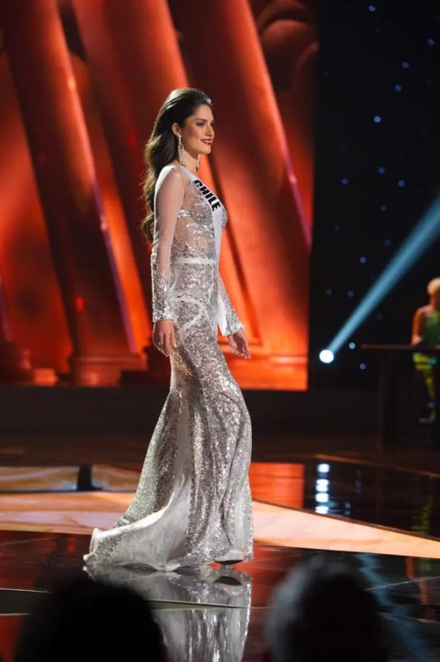 Maria-Belen Jerez Spuler, Miss Chile 2015, competes on stage in her evening gown during The 2015 MISS UNIVERSE® Preliminary Show at Planet Hollywood Resort & Casino Wednesday, December 16, 2015. The 2015 Miss Universe contestants are touring, filming, rehearsing and preparing to compete for the DIC Crown in Las Vegas. Tune in to the FOX telecast at 7:00 PM ET live/PT tape-delayed on Sunday, Dec. 20, from Planet Hollywood Resort & Casino in Las Vegas to see who will become Miss Universe 2015. HO/The Miss Universe Organization