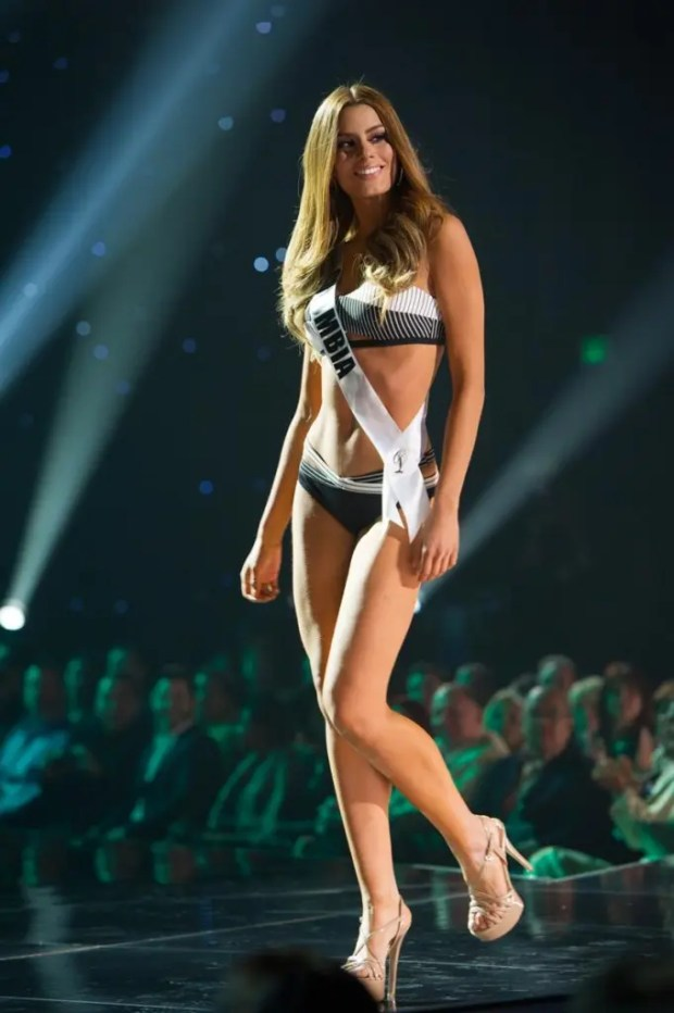 Ariadna Gutierrez, Miss Colombia 2015 competes on stage in Yamamay swimwear featuring footwear by Chinese Laundry during The 2015 MISS UNIVERSE® Preliminary Show at Planet Hollywood Resort & Casino Wednesday, December 16, 2015. The 2015 Miss Universe contestants are touring, filming, rehearsing and preparing to compete for the DIC Crown in Las Vegas. Tune in to the FOX telecast at 7:00 PM ET live/PT tape-delayed on Sunday, Dec. 20, from Planet Hollywood Resort & Casino in Las Vegas to see who will become Miss Universe 2015. HO/The Miss Universe Organization