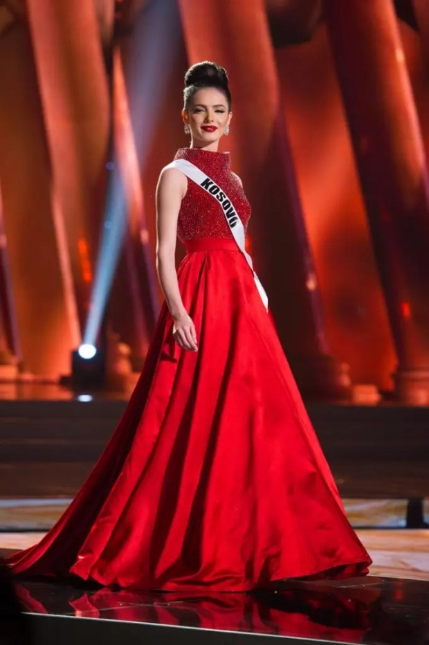 Mirjeta Shala, Miss Kosovo 2015, competes on stage in her evening gown during The 2015 MISS UNIVERSE® Preliminary Show at Planet Hollywood Resort & Casino Wednesday, December 16, 2015. The 2015 Miss Universe contestants are touring, filming, rehearsing and preparing to compete for the DIC Crown in Las Vegas. Tune in to the FOX telecast at 7:00 PM ET live/PT tape-delayed on Sunday, Dec. 20, from Planet Hollywood Resort & Casino in Las Vegas to see who will become Miss Universe 2015. HO/The Miss Universe Organization