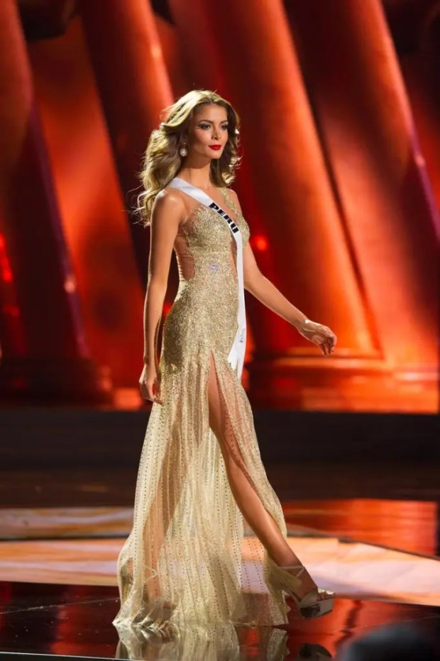 Laura Spoya, Miss Peru 2015, competes on stage in her evening gown during The 2015 MISS UNIVERSE® Preliminary Show at Planet Hollywood Resort & Casino Wednesday, December 16, 2015. The 2015 Miss Universe contestants are touring, filming, rehearsing and preparing to compete for the DIC Crown in Las Vegas. Tune in to the FOX telecast at 7:00 PM ET live/PT tape-delayed on Sunday, Dec. 20, from Planet Hollywood Resort & Casino in Las Vegas to see who will become Miss Universe 2015. HO/The Miss Universe Organization
