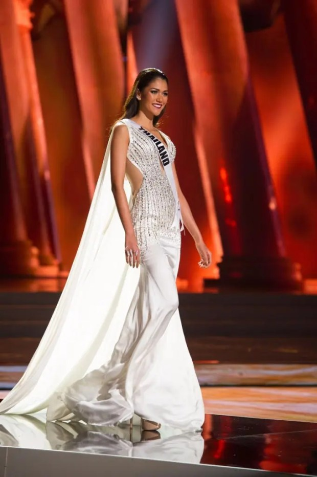 Aniporn Chalermburanawong, Miss Thailand 2015, competes on stage in her evening gown during The 2015 MISS UNIVERSE® Preliminary Show at Planet Hollywood Resort & Casino Wednesday, December 16, 2015. The 2015 Miss Universe contestants are touring, filming, rehearsing and preparing to compete for the DIC Crown in Las Vegas. Tune in to the FOX telecast at 7:00 PM ET live/PT tape-delayed on Sunday, Dec. 20, from Planet Hollywood Resort & Casino in Las Vegas to see who will become Miss Universe 2015. HO/The Miss Universe Organization
