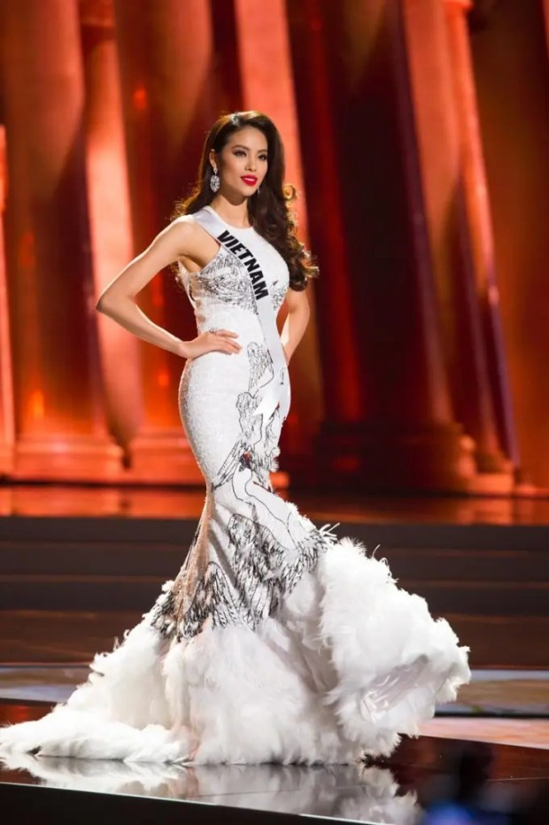 Huong Pham, Miss Vietnam 2015, competes on stage in her evening gown during The 2015 MISS UNIVERSE® Preliminary Show at Planet Hollywood Resort & Casino Wednesday, December 16, 2015. The 2015 Miss Universe contestants are touring, filming, rehearsing and preparing to compete for the DIC Crown in Las Vegas. Tune in to the FOX telecast at 7:00 PM ET live/PT tape-delayed on Sunday, Dec. 20, from Planet Hollywood Resort & Casino in Las Vegas to see who will become Miss Universe 2015. HO/The Miss Universe Organization