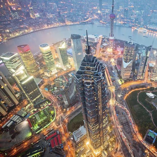 Shanghai's skyscrapers at night