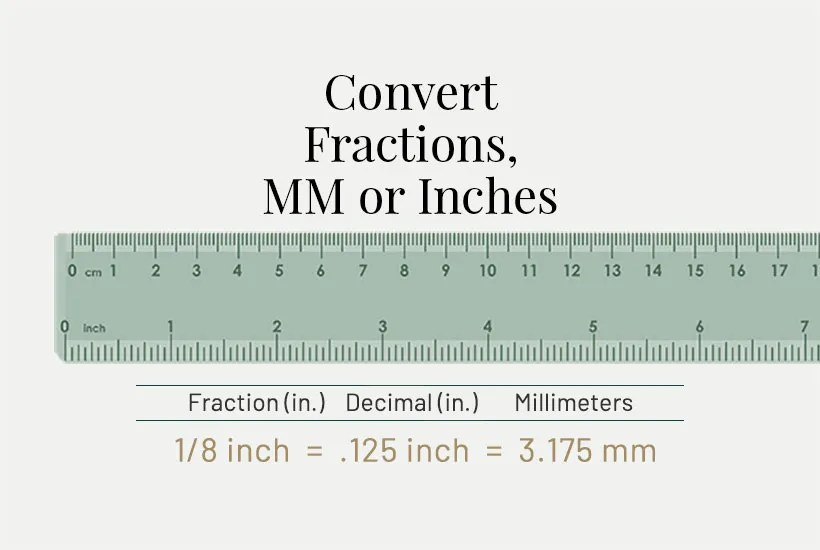 Convert MM to inches and convert inches to MM with this handy Fractional Equivalency chart. Also convert fractions.