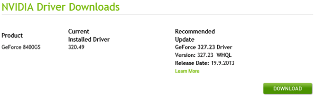 NVIDIA Video Card Recommended Update