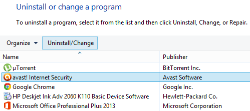 Uninstall or change a program window