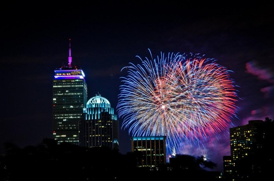 Fireworks over Boston