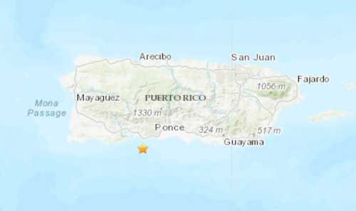 Earthquake epicenter on map of PR
