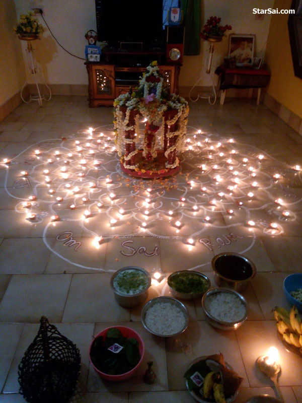 108 lamps lit for Sai Baba