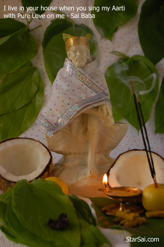 Saibaba statue and photo in your house becomes real sai when u sing aarti