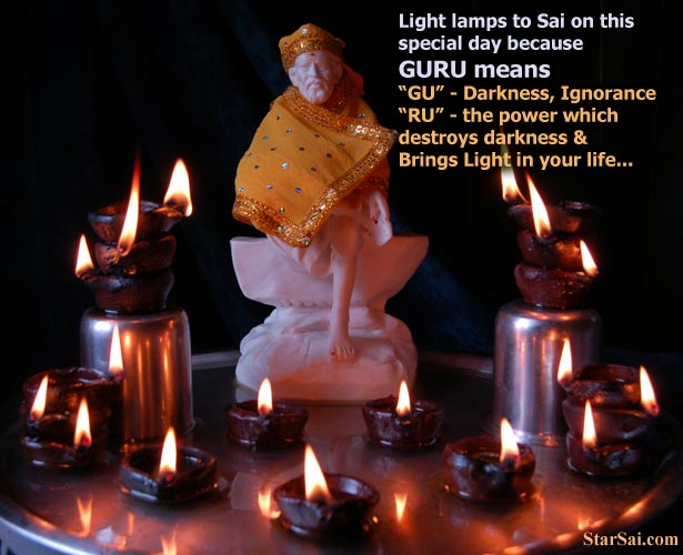 saibaba of shirdi with beautiful lamps for your happy birthday