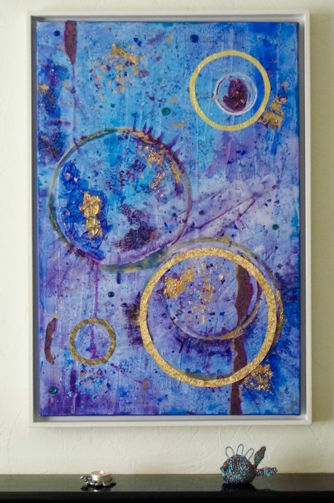 Art and music: Space Ritual - Blue, purple and gold abstract painting by Emerald Dunne Art. Inspired by song by Hawkwind.