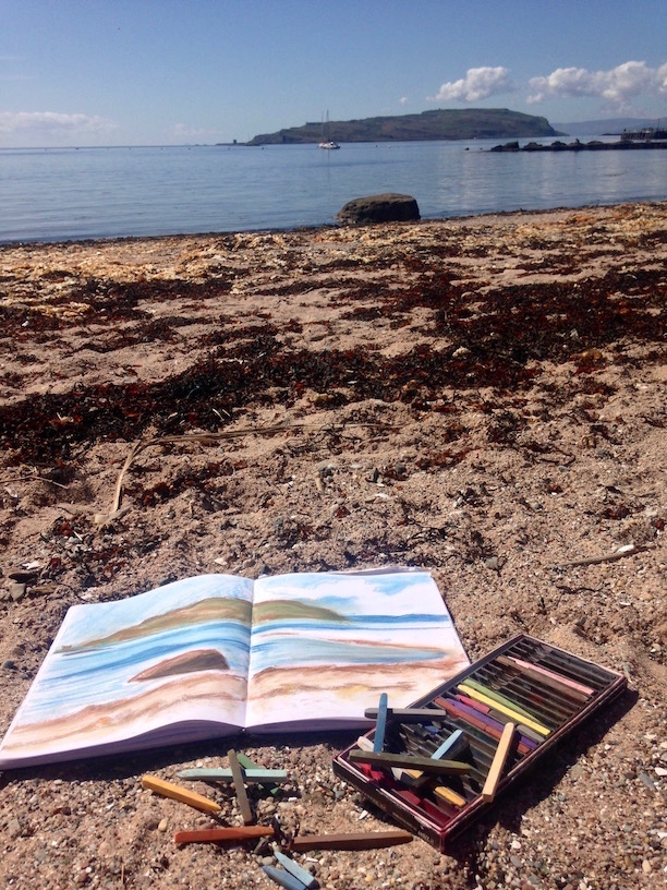 Artist date on Millport island, May 2018: Work-in-progress at Plein Air Day organised by the Studio Gallery.
