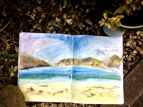 Inspired: Finding creative inspiration on some of the many beaches on Lewis and Harris in the Outer Hebrides. Pastel sketch by Glasgow artist Emerald Dunne.