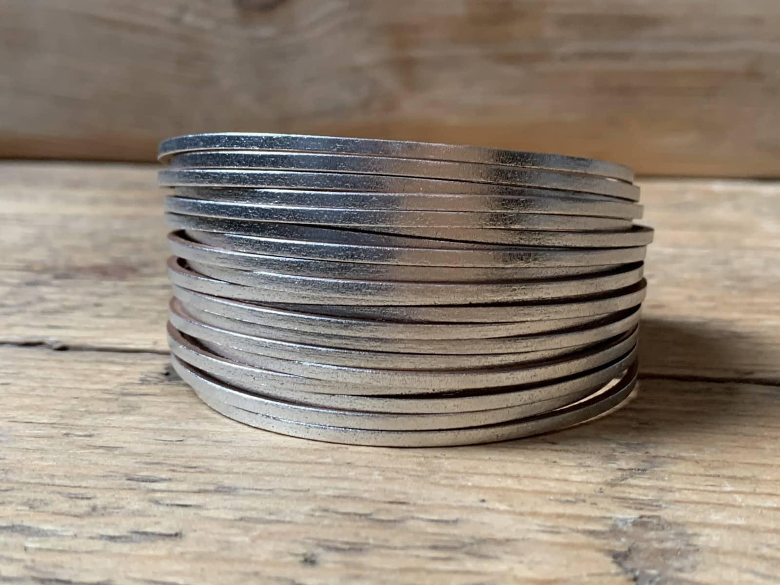Zilveren leren armband